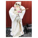 3ft Santa dressed in white with pink roses