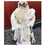 3ft Santa with ivory rose cloak and pearl/pear