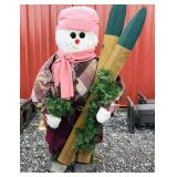 Wooden snowman with skis & bell