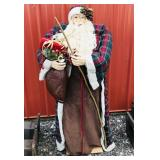 3 ft Santa with plaid cloak and gold walking