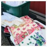 Tote of table cloths, doilies, Scrap Fabric