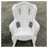 Wicker white rocking chair