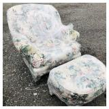 Floral Chair and ottoman.  No brand name.