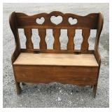 3.5 ft tall wooden bench with storage