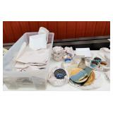 Tote full of Glassware, Square Plates, Clay Type,