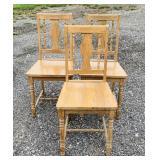 3 Matching Oak Kitchen Chairs