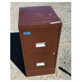 29 in. brown filing cabinet -LOCKED and no key