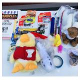 Tote of toys, Matchbox Cars, Stuffed animals