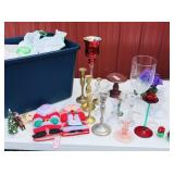 Tote of different candlestick holders