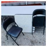 Black/White Card Table w/ 2 Cosco padded Chairs