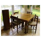"Oak 5 Leg Table w/ 3 Leafs, 42"" x 42"""