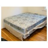 Queen Mattress and Box Spring on Metal Frame,