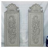 "2 Resin Wall Deco Hangings, 7.5"" w x 22"" high"
