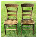 Pair of Antique Farm Table Chairs, Good and Solid
