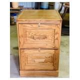 "Oak 2 Drawer File Cabinet, Missing Key, 19"" w x"