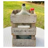 Glass Jug in Wood Crate, 5 Gallon