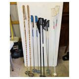 5 Pair of Ski Poles  W/Size 10 Men