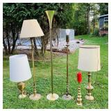 5 Brass Lamps plus 1 Candle Stand
