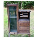 Antique Curved Glass Secretary/Bookcase Cabinet