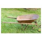 Antique Wheel Barrow, Steel Wheel