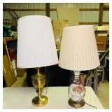 2 Lamps, Painted Older lamp and Brass lamp