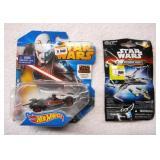 2 Star Wars Hot Wheels Cars and Air Plane NEW