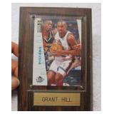 Grant Hill Pistons Card in Wood Plaque