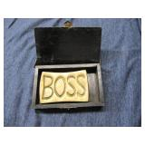 """Brass Engraved Plate """"Boss"""" in wood box"""