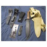 Lot of Knives and Sheaths