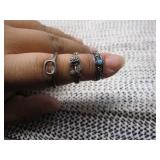 3 Sterling Silver 925 Stamp Rings, size 4,5, 8