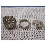3 Sterling Silver 925 Rings, Sizes 7,8,8.5