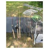 9 Fishing Poles and 1 Net
