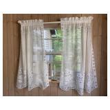 "Set of 6 Curtain Panels, 50"" x 36"" White Lace"