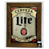 """Cerveza Lite Beer Mirror, Oak Frame, 30"""" x 24"""""""
