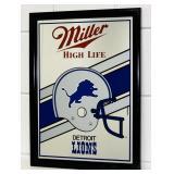"""Miller Detroit Lions Beer Mirror, 19.5"""" x 14.5"""""""