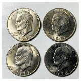 (4) 1972 Eisenhower Dollar Coins, Type 2
