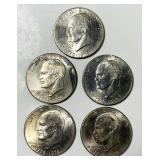 (5) Eisenhower 1776-1976 Type 2, Dollar Coins