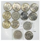 (9) 1972d, (3) 1971d, (1) 1978 Eisenhower Dollar