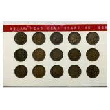 15 Indian Head Pennies, 1895-1909