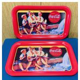 "(2) 1993 Coke Advertising Trays, 9"" x 14"""