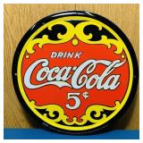 "Coke Advertising Tin Sign, Embossed, 12"""