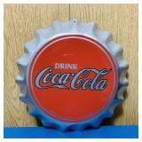 """Coke Advertising Tin Bottle Cap Sign, 11"""""""