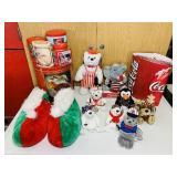 Coke Christmas Lot, Slippers, Plush Animals