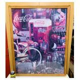 """Coke Puzzle Frames in Oak Frame, 35"""" x 43"""""""