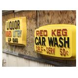 Original signs from the RED KEG Car Wash in Averill.