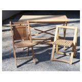 Folding Wooden Table and 2 Chairs