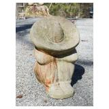 Mexican cement sculpture of man with hat