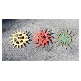3 painted metal wheel spokes