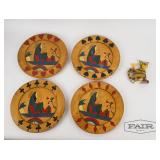 4 Vintage Playing Card Plates & Michelle Allen Cat