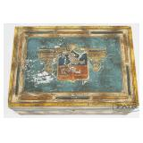 Milk Glass Lined Decorated Cigar Box
